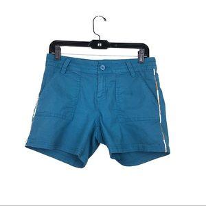 Prana Blue Sz 6 Embroidered Organic Cotton Shorts